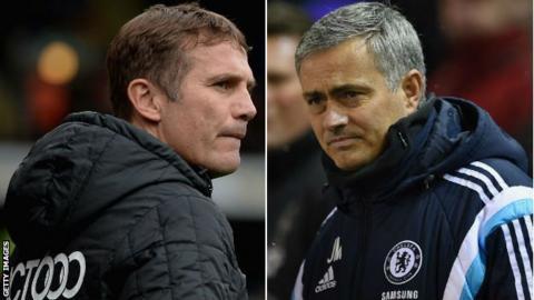 Phil Parkinson (left) Jose Mourinho (right)