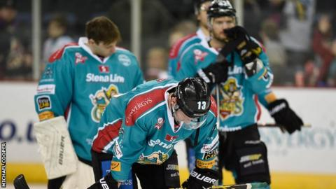 Belfast Giants's players show their disappointment after Friday's defeat