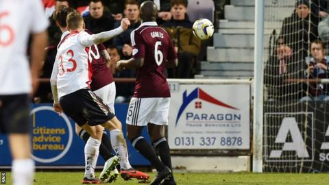 Rory Loy scores for Falkirk against Hearts
