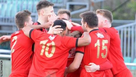 Truro City celebrate a goal against Dorchester Town