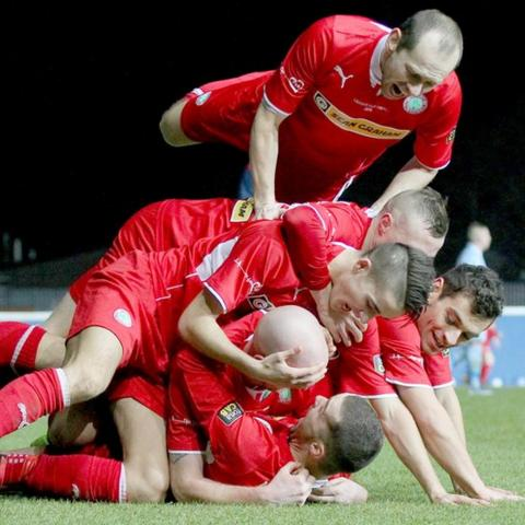 Cliftonville celebrate after Martin Donnelly's 80th-minute strike which proved to be the winner
