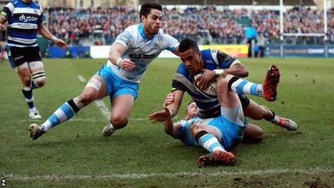 Sean Maitland (right) and Finn Russell combine to deny Bath's Anthony Watson