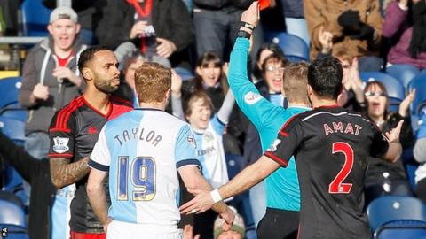 Swansea defender Kyle Bartley is sent off