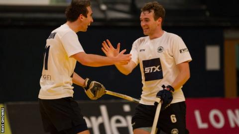 East Grinstead team mates Chris Griffiths and David Condon celebrate a goal in the Hockey 5s final