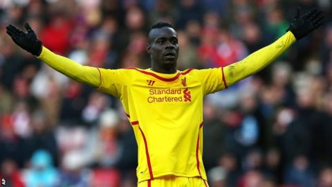 Liverpool striker Mario Balotelli appeals for a decision