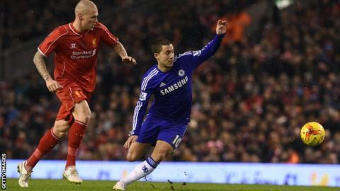 Liverpool's Martin Skrtel and Chelsea's Eden Hazard