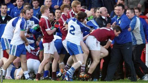 Tempers fray during the Derry club final between Ballinderry and Slaughtneil