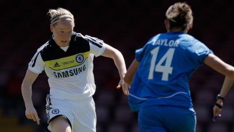 Danielle Buet of Chelsea (left) in action for Chelsea against Birmingham