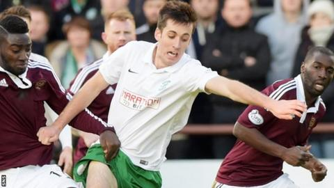 Callum Booth in action for Hibs against Hearts