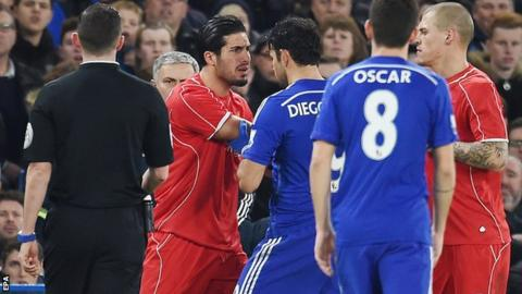 Costa and Can clash after the alleged stamping incident