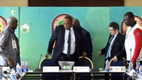 President of the Malian football federation Baba Diarra, CAF president Issa Hayatou, CAF secretary general Icham El Amrani and financial director of Guinea sports ministry Amara Dabo