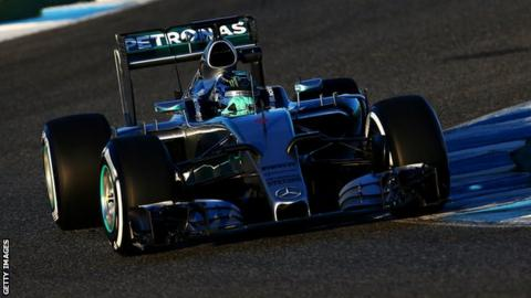 Nico Rosberg in the new 2015 Mercedes at pre-season testing in Spain