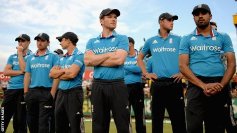 England cricket team watch the presentations after losing to Australia in the final of the ODI Tri-series