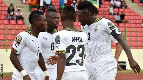 Ghana players celebrate during their win over Guinea