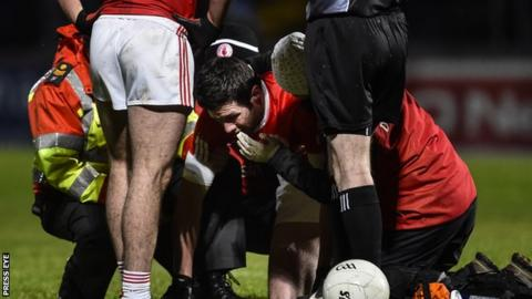 Sean Cavanagh gets treatment during Tyrone's defeat by Monaghan