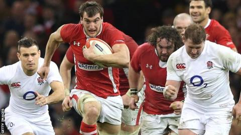 Wales captain Sam Warburton charges away with the ball during the record win over England in 2013