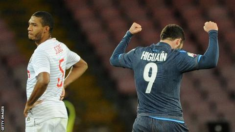 Gonzalo Higuain (right) celebrates as Juan Jesus looks on