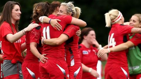 Wales Women celebrate their 35-3 win over South Africa in the 2014 World Cup