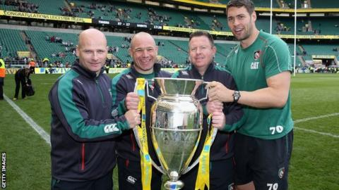 Richard Blaze (right) and the Leicester Tigers coaching set up from the 2013 Premiership victory
