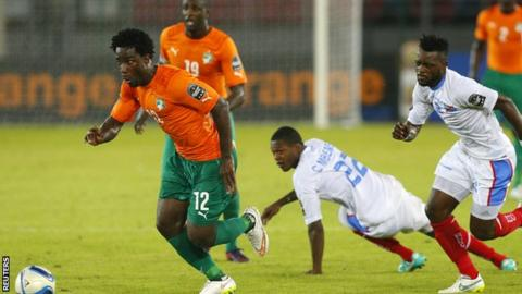 Wilfried Bony and Yaya Toure in Africa Cup of Nations action for the Ivory Coast