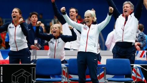 GB's Fed Cup squad celebrate