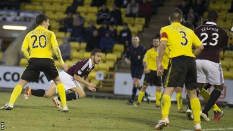 Kenny Anderson scores for Hearts against Livingston