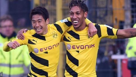 Shinji Kagawa and Pierre-Emerick Aubameyang celebrate for Borussia Dortmund
