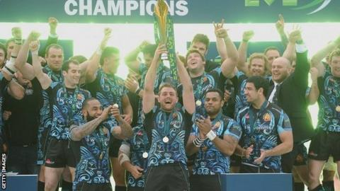Exeter celebrate winning the LV= Cup in 2014