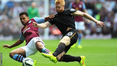 Hull City defender Paul McShane in action against Aston Villa