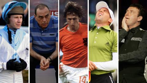 Richard Johnson, Avram Grant, Johan Cruyff, Sergio Garcia and Jimmy White