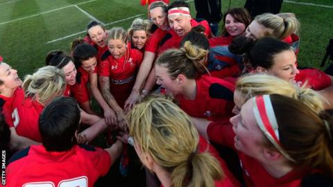 Wales Women celebrate their 13-0 Six Nations win over England