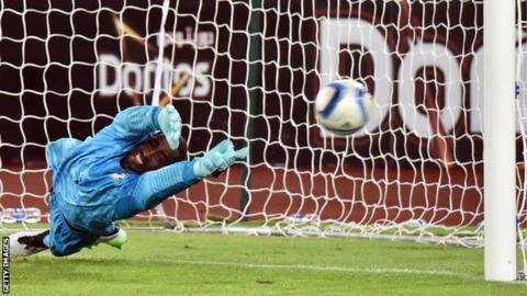 The moment when Boubacar Barry saved a penalty from Razak Braimah in the Africa Cup of Nations final