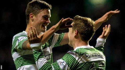Celtic players Mikael Lustig and Kris Commons
