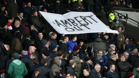 Aston Villa fans hold up a banner calling for Paul Lambert to be sacked