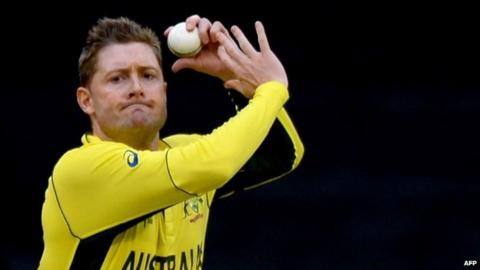 Michael Clarke bowls during the one-day international World Cup warm-up cricket match between Australia and the UAE in Melbourne (11 February 2015)