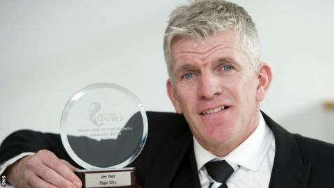 Elgin City manager Jim Weir with his manager of the month award