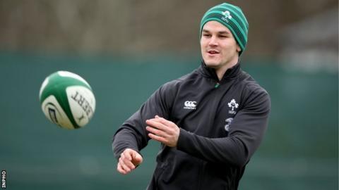 Jonathan Sexton during Ireland training on Thursday
