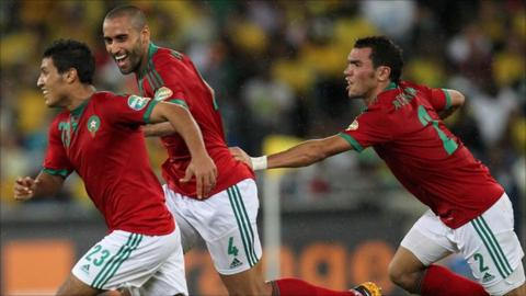 Morocco players celebrate goal