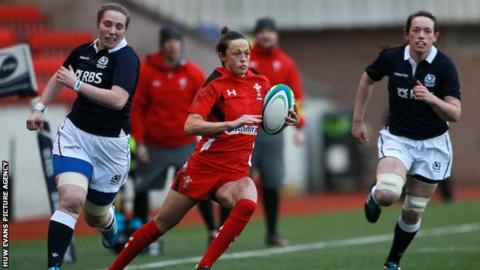 Laurie Harries on the attack for Wales women against Scotland women