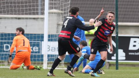 Matthew Snoddy scored for Coleraine but his side eventually lost 2-1 to Ballinamallard United at Ferney Park