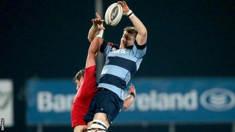 Cardiff's Macauley Cook outjumps Munster's Dave O'Callaghan in a line-out