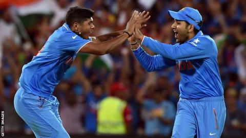 "Umesh Yadav celebrates his second wicket of Pakistan""s Sohaib Maqsood"