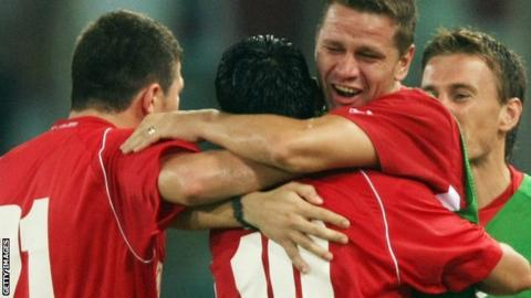 Dinamo Bucharest players celebrate during the first leg of their 2007 Champions League tie with Lazio
