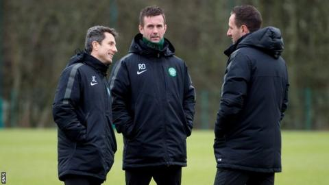 Ronny Deila, John Collins and John Kennedy