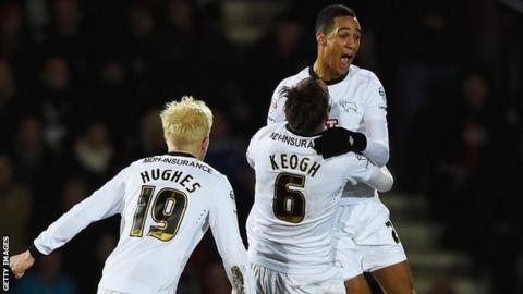 Thomas Ince celebrates his goal against Bournemouth