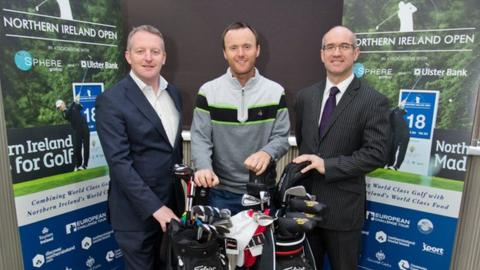 Michael Hoey (centre) with the Ulster Bank's Neil Cooke (right) and Sphere Global managing director Sean McNicholl