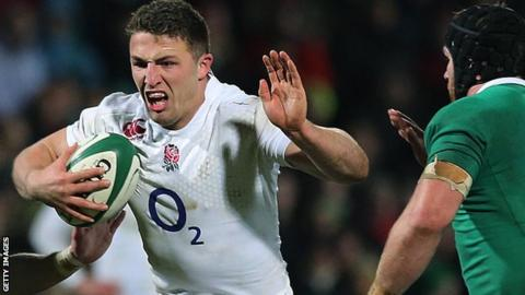 Sam Burgess in action for England Saxons