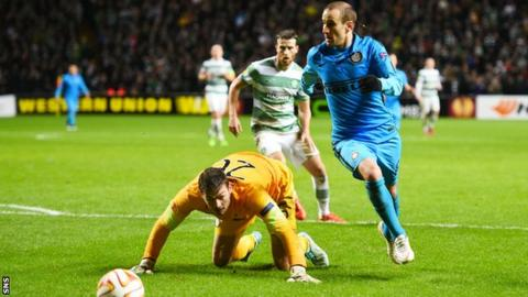 Rodrigo Palacio scores for Inter Milan against Celtic