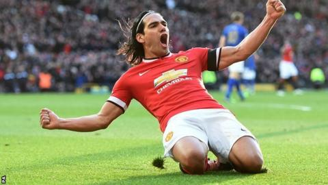 Manchester United striker Radamel Falcao celebrates against Leicester City