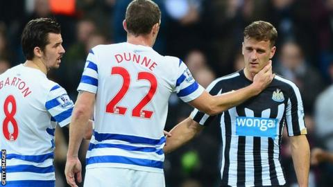 Ryan Taylor is consoled by Richard Dunne and Joey Barton